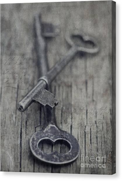 Grey Canvas Print - Vintage Keys by Priska Wettstein