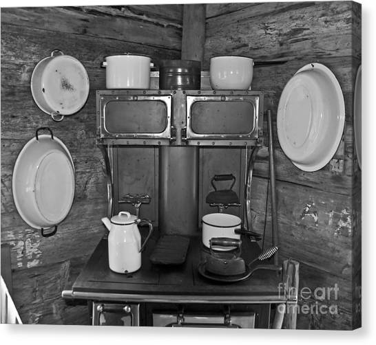 Vintage Kitchen And Wood Stove Canvas Print by Valerie Garner