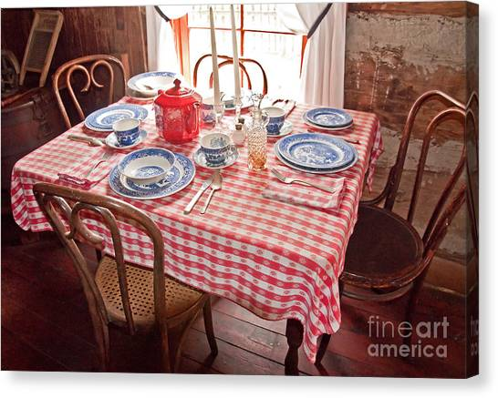 Vintage Kitchen Table Art Prints Canvas Print