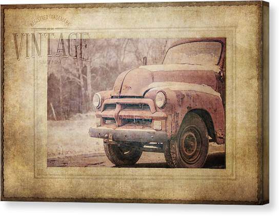 Rusty Truck Canvas Print - Vintage by KJ DeWaal
