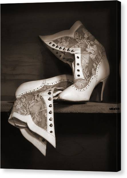 f0e420c7d5858 Womens Shoes Canvas Print - Vintage Lace Boots In Sepia by Nikolyn McDonald