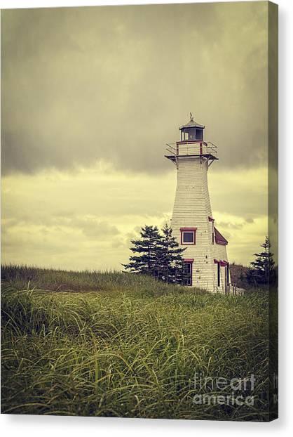 New Brunswick Canvas Print - Vintage Lighthouse Pei by Edward Fielding