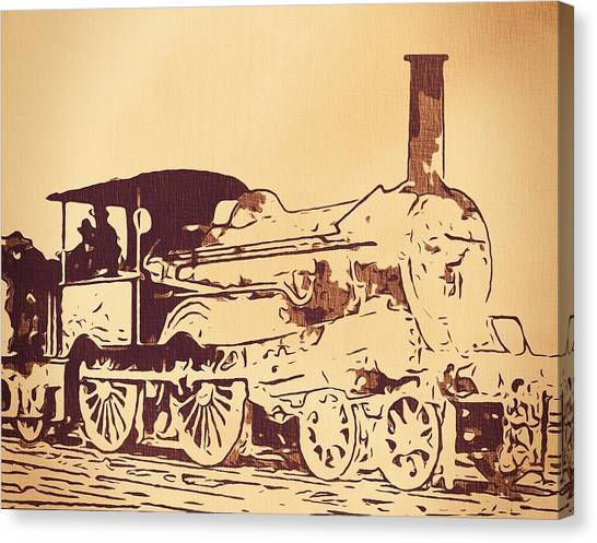 Train Conductor Canvas Print - Vintage Locomotive by Dan Sproul