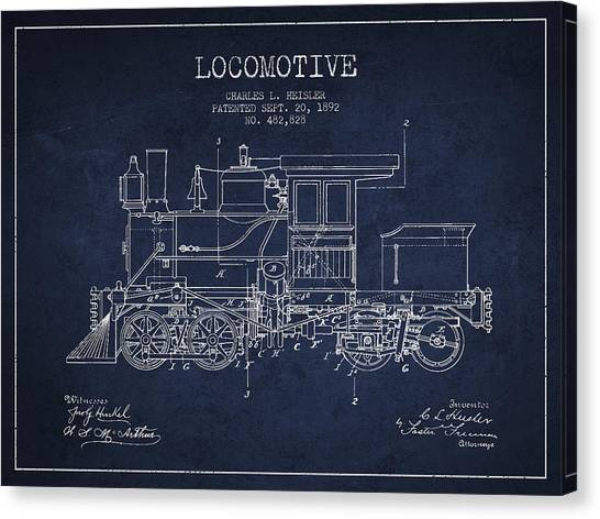 Trains Canvas Print - Vintage Locomotive Patent From 1892 by Aged Pixel