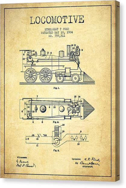 Train Canvas Print - Vintage Locomotive Patent From 1904 - Vintage by Aged Pixel