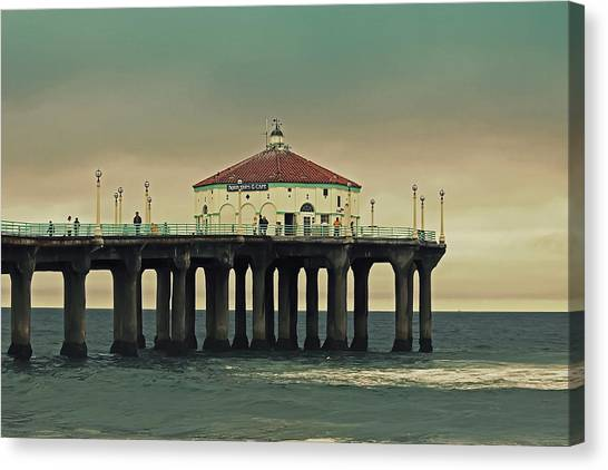 Vintage Manhattan Beach Pier Canvas Print
