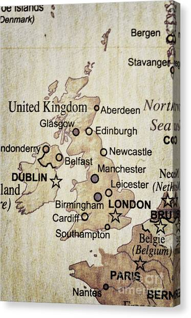 Vintage Map Of England Canvas Print
