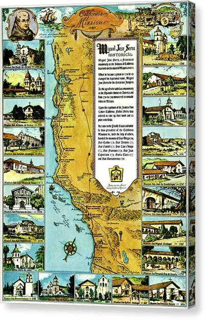 graphic relating to California Missions Map Printable referred to as Catholocism Canvas Prints Fantastic Artwork The usa