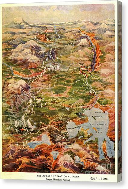 Yellowstone National Park Canvas Print - Vintage Map Of Yellowstone National Park by Edward Fielding