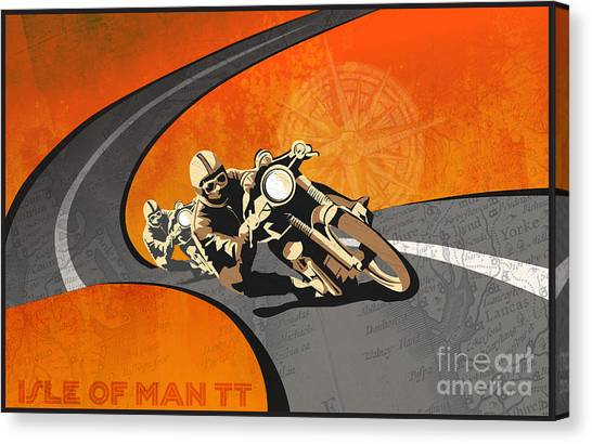 Canvas Print featuring the painting Vintage Motor Racing  by Sassan Filsoof