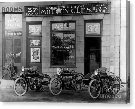 Harley Davidson Canvas Print - Vintage Motorcycle Dealership by Jon Neidert
