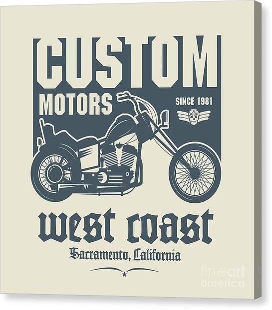 Vintage Motorcycle Label Or Poster Canvas Print by Astudio