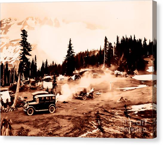 Vintage Mount Rainier Cars And Camp Grounds Early 1900 Era... Canvas Print