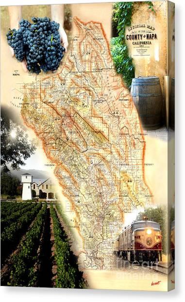 Wine Barrels Canvas Print - Vintage Napa Valley Map by Jon Neidert