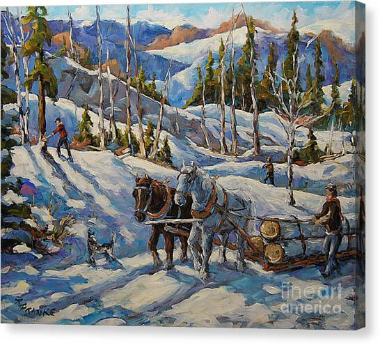 Woodsmen Canvas Print - Vintage New England Loggers By Prankearts by Richard T Pranke
