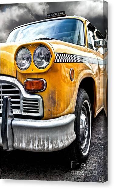New York City Taxi Canvas Print - Vintage Nyc Taxi by John Farnan