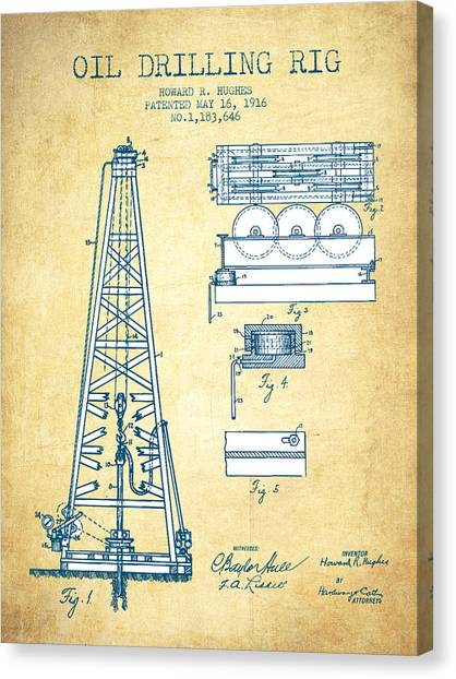 Oil Rigs Canvas Print - Oil Drilling Rig Patent From 1916 - Vintage Paper by Aged Pixel