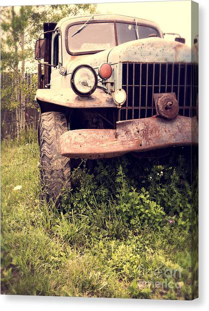 Rusty Truck Canvas Print - Vintage Old Dodge Work Truck by Edward Fielding