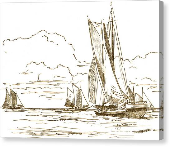 Vintage Oyster Schooners  Canvas Print