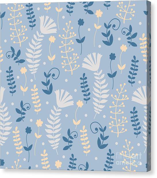 Decoration Canvas Print - Vintage Pattern With Floral Motifs by Yudina Anna