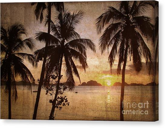 Beach Sunsets Canvas Print - Vintage Philippines by Delphimages Photo Creations