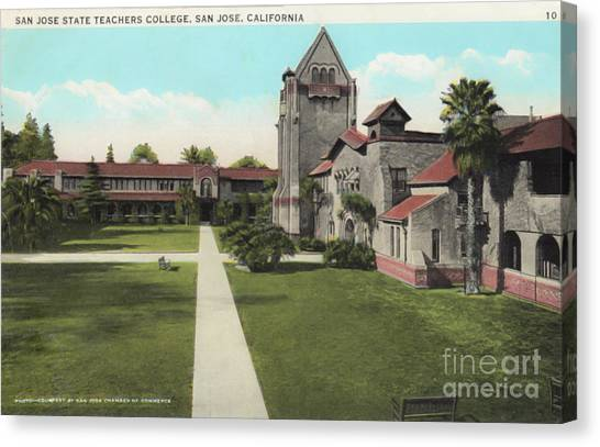 San Jose State University Canvas Print - Vintage Photo Of San Jose Teachers College by Christopher Edmunds
