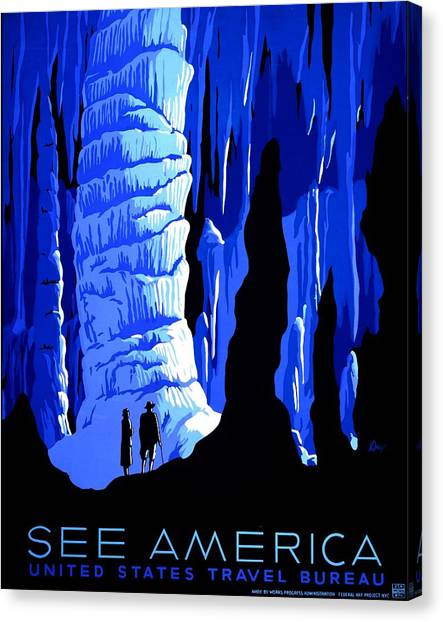 Mammoth Cave Canvas Print - Vintage Poster - Carlsbad Caverns National Park by Benjamin Yeager