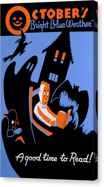 Haunted House Canvas Print - Vintage Poster - Reading - October by Benjamin Yeager