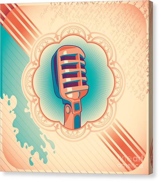 Microphones Canvas Print - Vintage Poster With Microphone. Vector by Radoman Durkovic