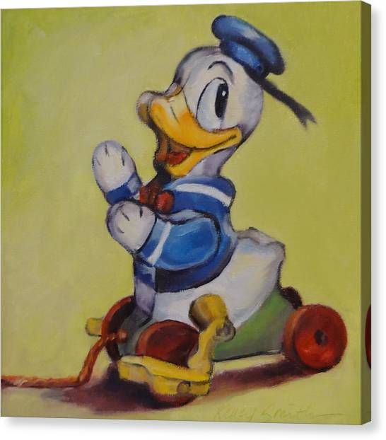 Vintage Pull Toy Series Duck Canvas Print by Kelley Smith