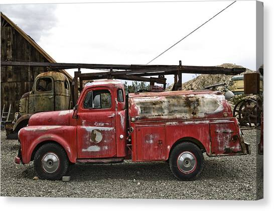 Classic Hotrod Canvas Print - Vintage Red Chevrolet Truck by Gianfranco Weiss