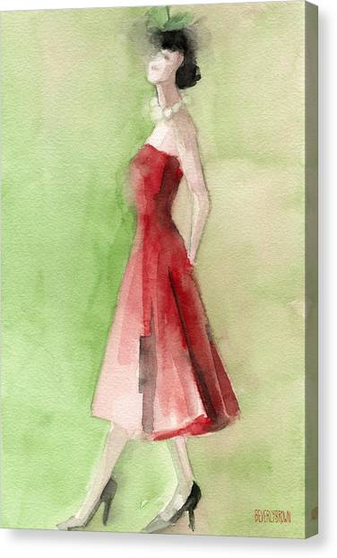 Limes Canvas Print - Vintage Red Cocktail Dress Fashion Illustration Art Print by Beverly Brown Prints