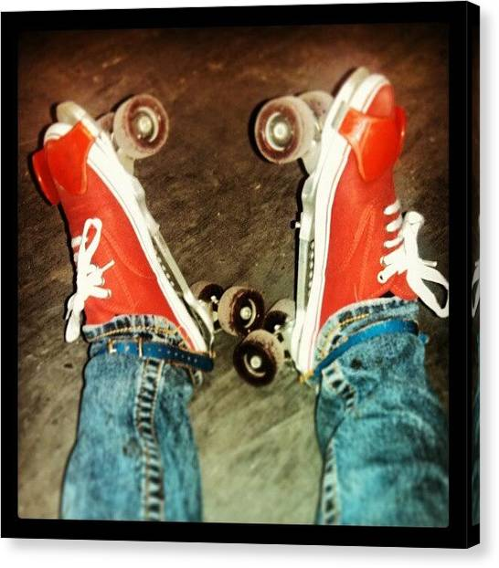 Roller Skating Canvas Print - Vintage Red Rollers by Erin Martin