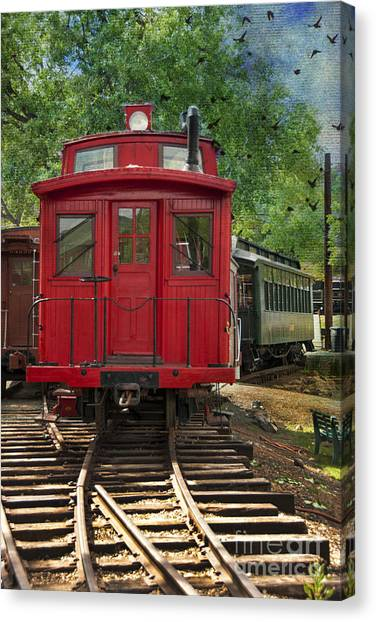 Caboose Canvas Print - Vintage Red Train by Juli Scalzi