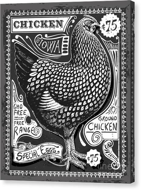 Vintage Rooster Poultry Butcher Canvas Print by Aurielaki