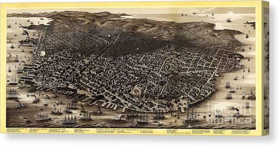 Bay Bridge Canvas Print - Vintage San Francisco by Jon Neidert