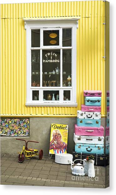 Vintage Shop In Akureyri Iceland Canvas Print