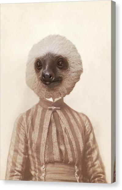 Vintage Sloth Girl Portrait Canvas Print