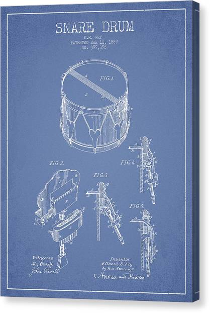 Snares Canvas Print - Vintage Snare Drum Patent Drawing From 1889 - Light Blue by Aged Pixel