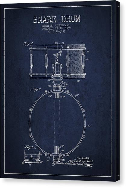Snares Canvas Print - Snare Drum Patent Drawing From 1939 - Blue by Aged Pixel