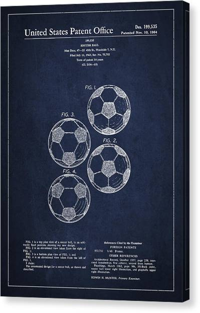 Soccer Canvas Print - Vintage Soccer Ball Patent Drawing From 1964 by Aged Pixel