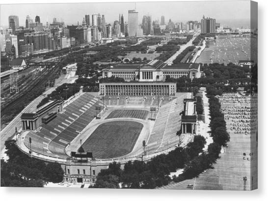 Chicago Bears Canvas Print - Vintage Soldier Field - Chicago Bears Stadium by Horsch Gallery