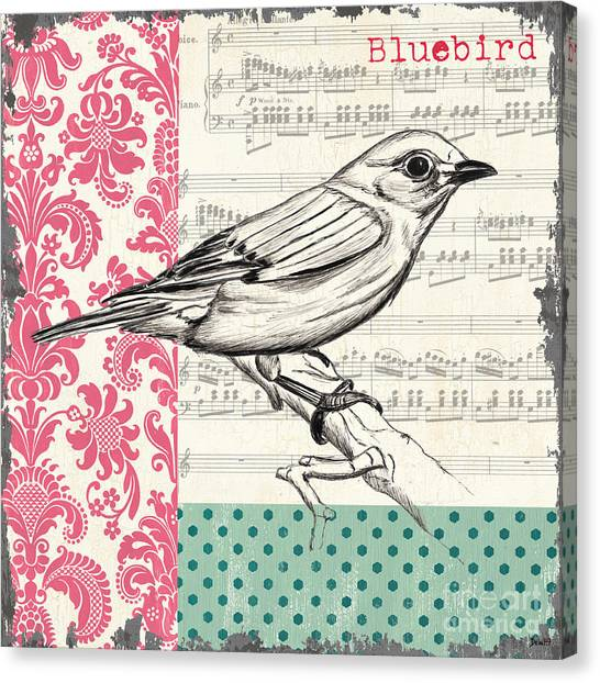 Spring Trees Canvas Print - Vintage Songbird 1 by Debbie DeWitt