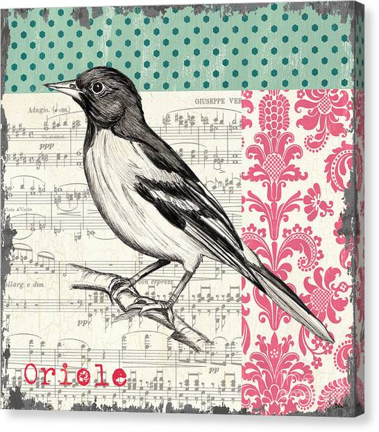 Spring Trees Canvas Print - Vintage Songbird 2 by Debbie DeWitt