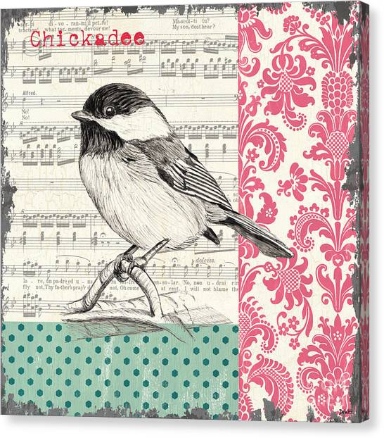 Chickadee Canvas Print - Vintage Songbird 3 by Debbie DeWitt