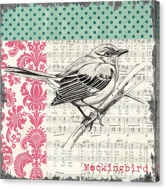 Mockingbird Canvas Print - Vintage Songbird 4 by Debbie DeWitt