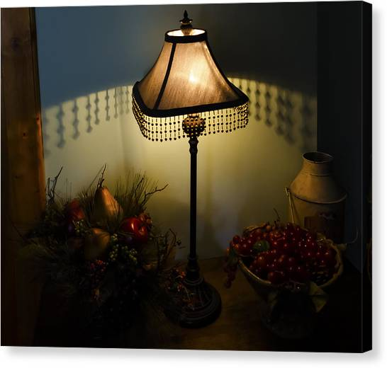 Vintage Still Life And Lamp Canvas Print