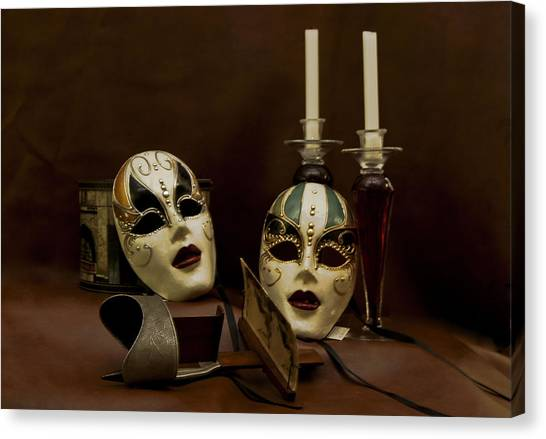 Vintage Still Life Of Venitian Mask Canvas Print