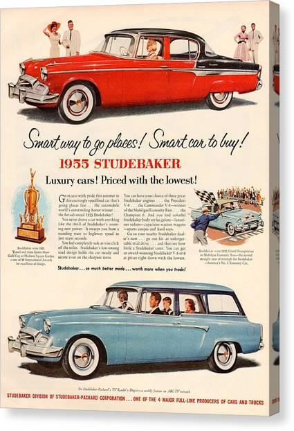 Classic Car Drawings Canvas Print - Vintage Studebaker 1955 Car Advert by Georgia Fowler