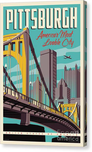Architecture Canvas Print - Pittsburgh Poster - Vintage Travel Bridges by Jim Zahniser